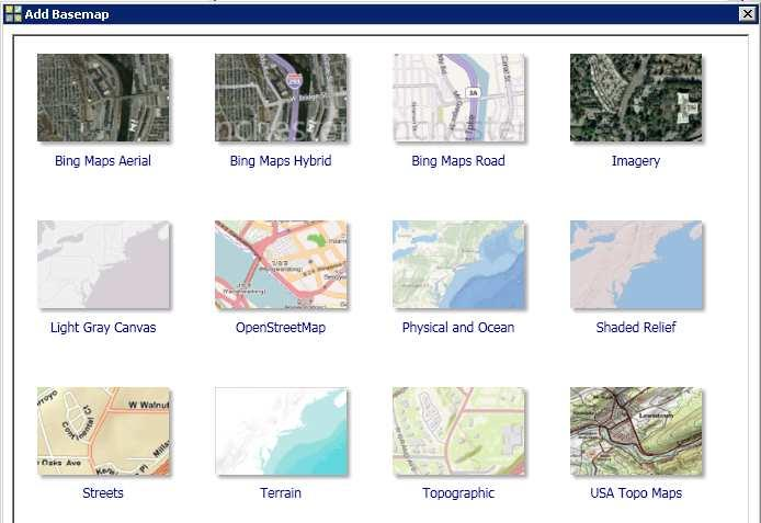 ArcGIS Online Web map services that display ready-to-use basemaps as images in ArcGIS (Desktop, Server,