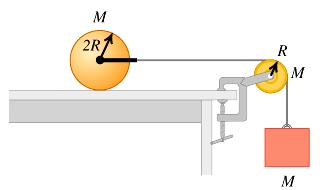 9. A thin-walled hollow sphere with mass M and radius 2R rests on a horizontal tabletop.