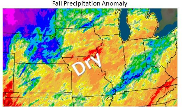 It is interesting to see a fall precipitation anomaly over the Midwest that does generally align with the composite (left).