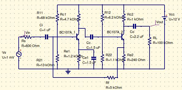 With Feedback Design Equations: 1. Select the transistors which has higher cutoff frequency of 1MHz Design for Second Stage 2. Choose I C2 =5mA, Vcc=12, V CE2 = Vcc /2, V E2 = Vcc/10, S=5 3.