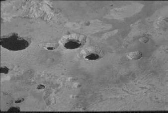 There are water-filled craters in the avalanche deposits,