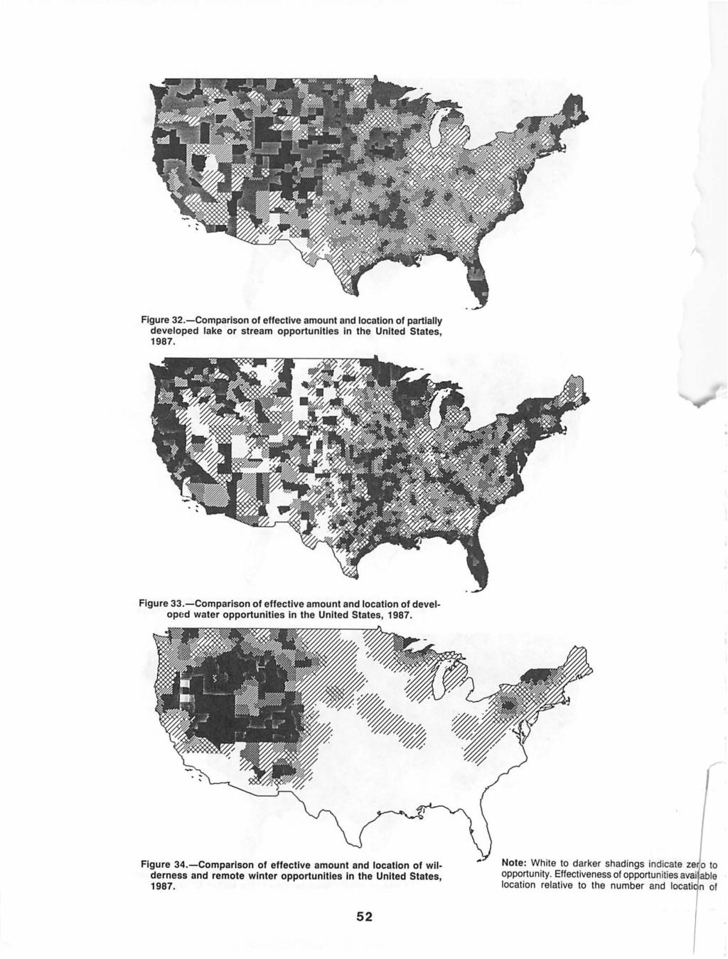 Figure 32.-Comparison of effective amount and location of partially developed lake or stream opportunities in the United States, 1987. Figure 33.