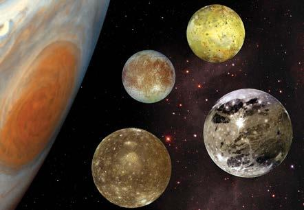 Jupiter has about 63 moons and a ring system.