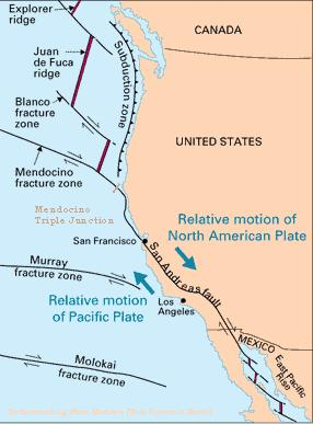 San Andreas Fault line runs from
