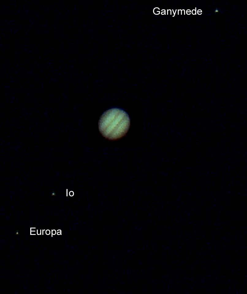 Jupiter and 3 of the Galilean satelites (only Callisto is missing from this amateur photograph)