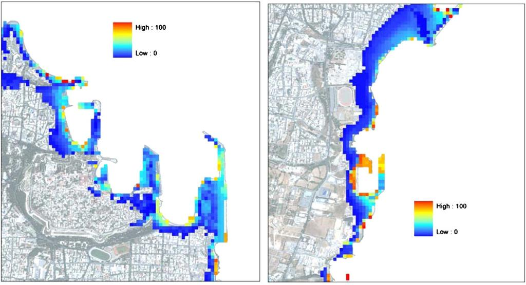 Probabilistic map showing the frequency of inundation among 100 runs for a time window of 500 years, for the main part of the city of Rhodes including the port (left), and for the southeast coast