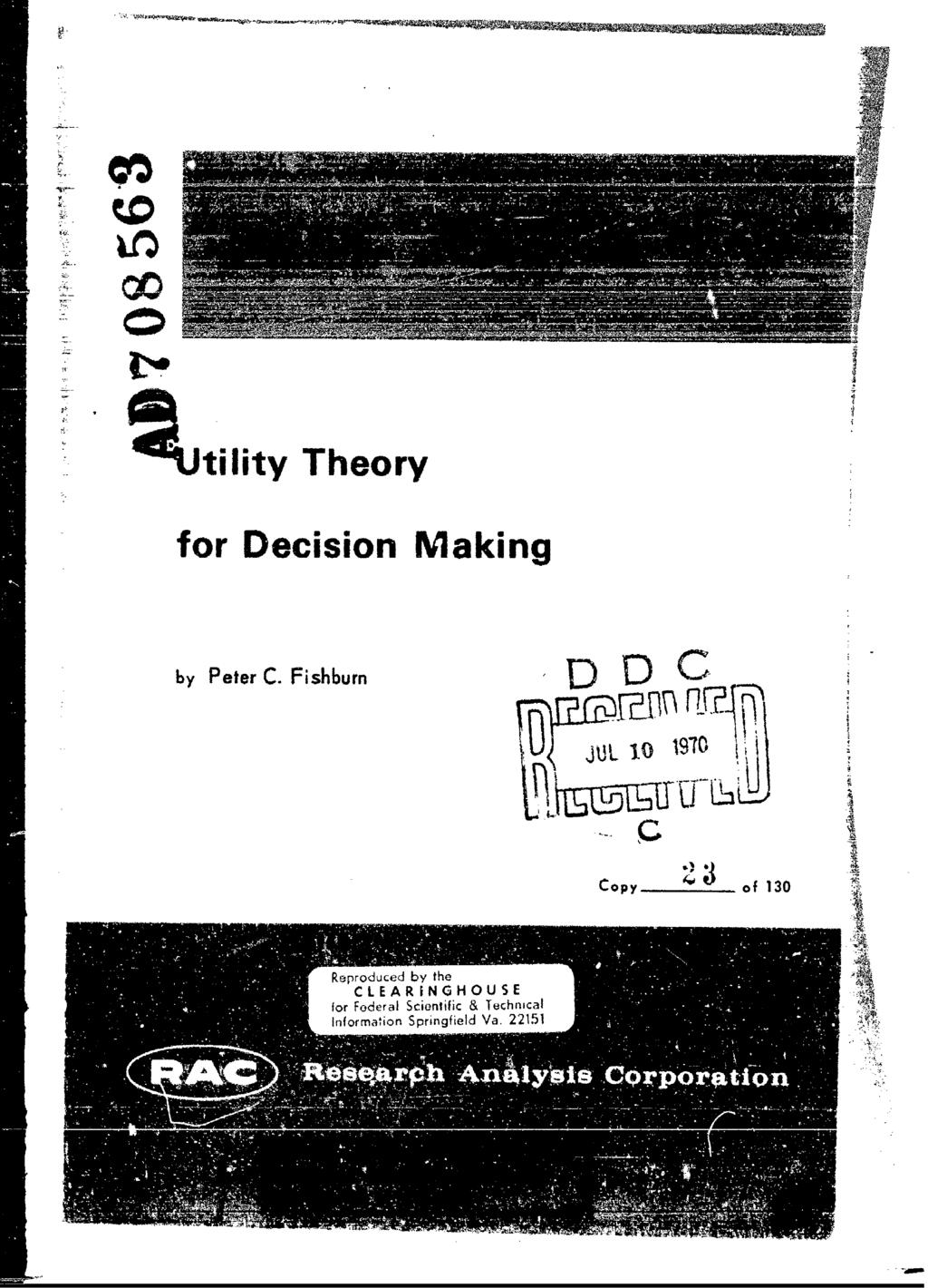 kutility Theory for Decision Making by