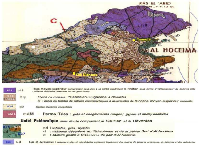 Figure 2: Geological map of the city of Al Hoceima [11]. The source of Sidi Mansour is at the foot of a calcareous cliff [6]. This is a Devonian limestone geological unit AL Hoceima.