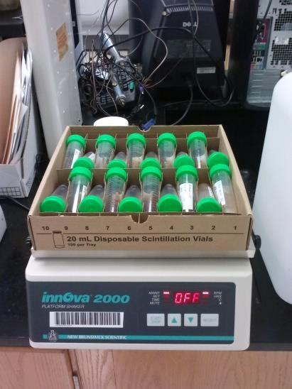 samples were allowed to equilibrate for 24 hours, they were centrifuged at 2700 RPM (Figure 5) to separate the liquid solution from the sediment with the sorbed humate.