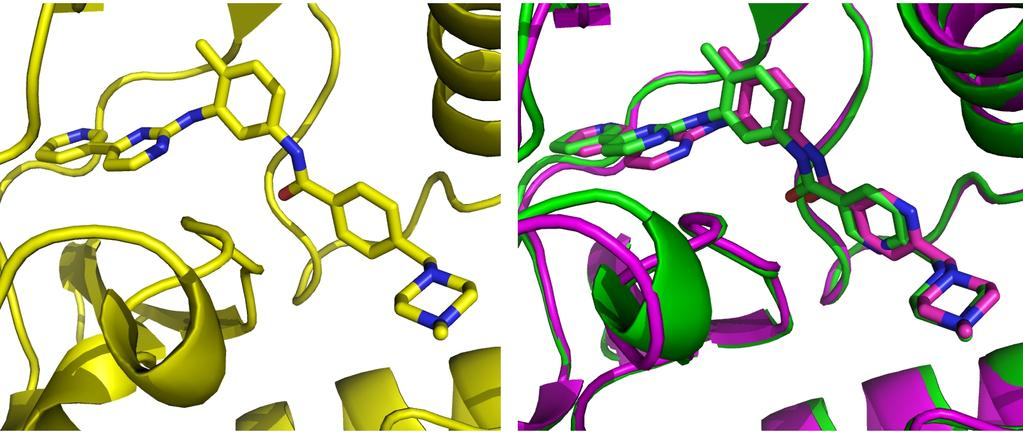 68 Improving the Selectivity of Imatinib Figure 3.1: Ligands placements as average structure of 1 ns MD.
