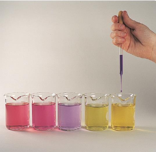 More on Acids-Bases Indicators: these are chemicals used to determine if an acid or base is strong or weak by changing colors.