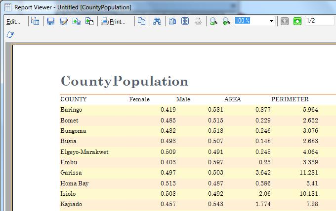 A report of the counties (Figure 4) was generated from the attribute table and exported in excel sheet for further editing and presentation. Figure 4: County Population Report.