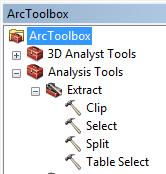 The ArcTool Box: The analysis tools were explained and Select tool in the Extract sub-tool box was used in an exercise to extract a County in the CountyPopulation Geodabase.