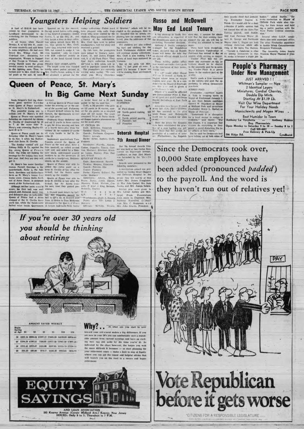 ... r THURSDAY, OCTOBER 12,1967 THE COMMERCIAL LEADER AND SorTTT RERCEN REVIEW PAGE NINE Youngsters Helping Soldiers A fund o f. $145.46 has been Spurred on by his succcs*.