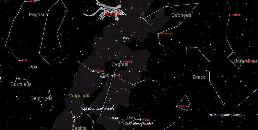 The star chart below shows the sky in the west at 21:00 on November 17 th. In the middle near the horizon you can see the constellation of Cygnus.