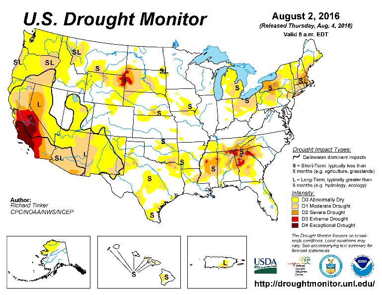 Drought Watch Again not much change from last month with western US drought conditions lessened in some areas but expanding in others.