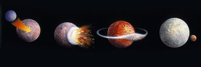 The collision re-melted Earth s outer layers, and debris from the collision spun off into orbit The two mostly molten