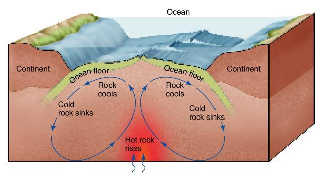 Convection in the asthenosphere moves the tectonic plates (pieces