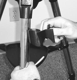 Attaching the Hand Control Holder The NexStar comes with a snap-on hand control holder that conveniently attaches to any of the tripod legs.
