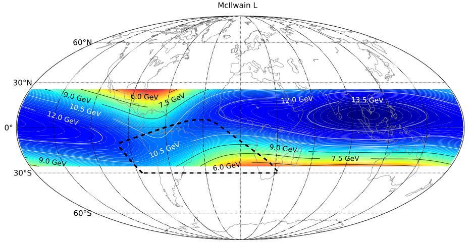 McIlwainL interval, measure spectrum for primary component above the cutoff, then recombine different spectra in the global