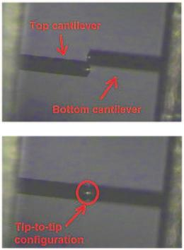 16 2 Correlation Force Spectroscopy Fig. 2.5 Top-view optical microscope images of the cantilever pair. ( Top) The two cantilevers are brought in proximity of each other.