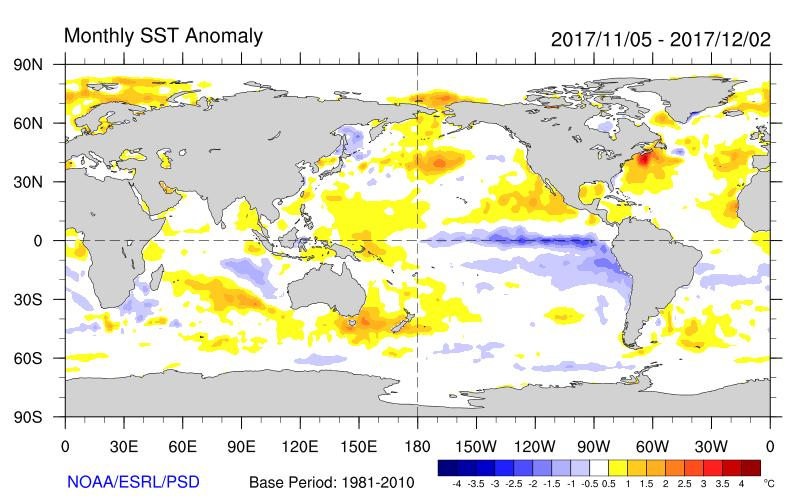 Global setting: November 2017 La Niña conditions are present in the tropical Pacific, as several conventional thresholds have been reached or are being approached.