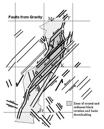 fault zones are the source of the high temperatures. Figure 2 also shows the break in the alignment of the rift in the middle part due to the northeast-southwest fault zones.