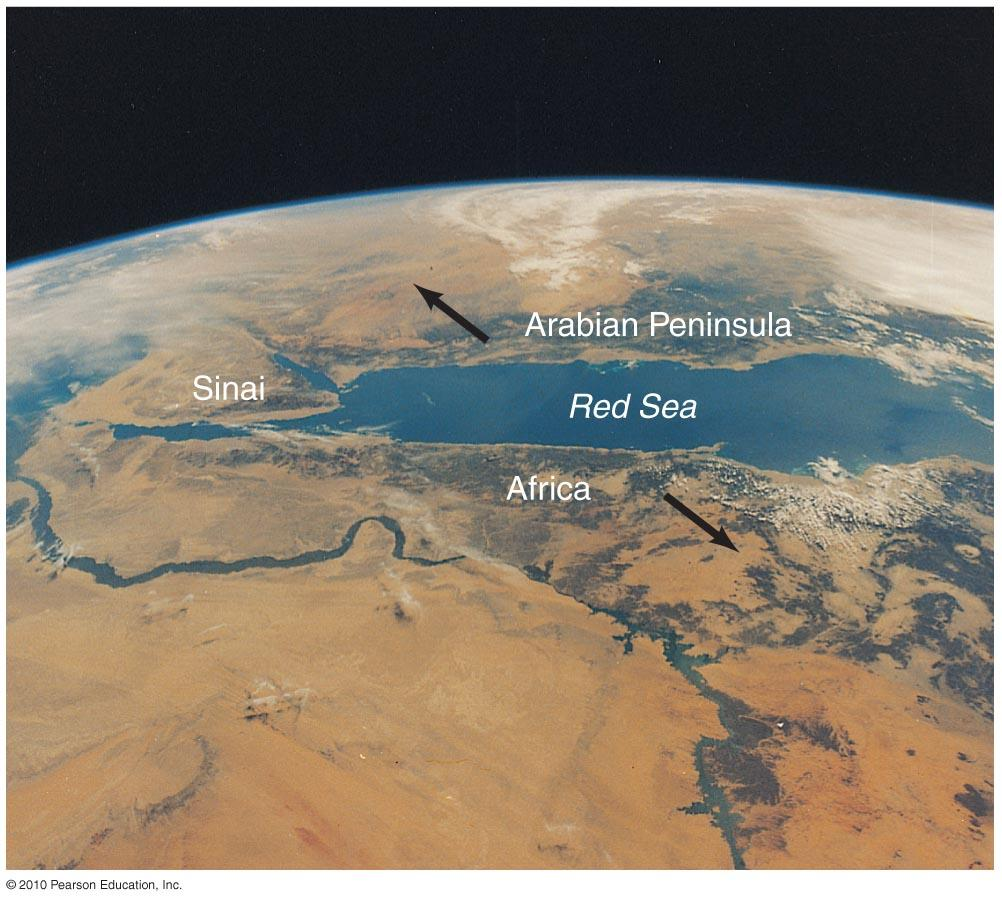 Surface Features The Red Sea is