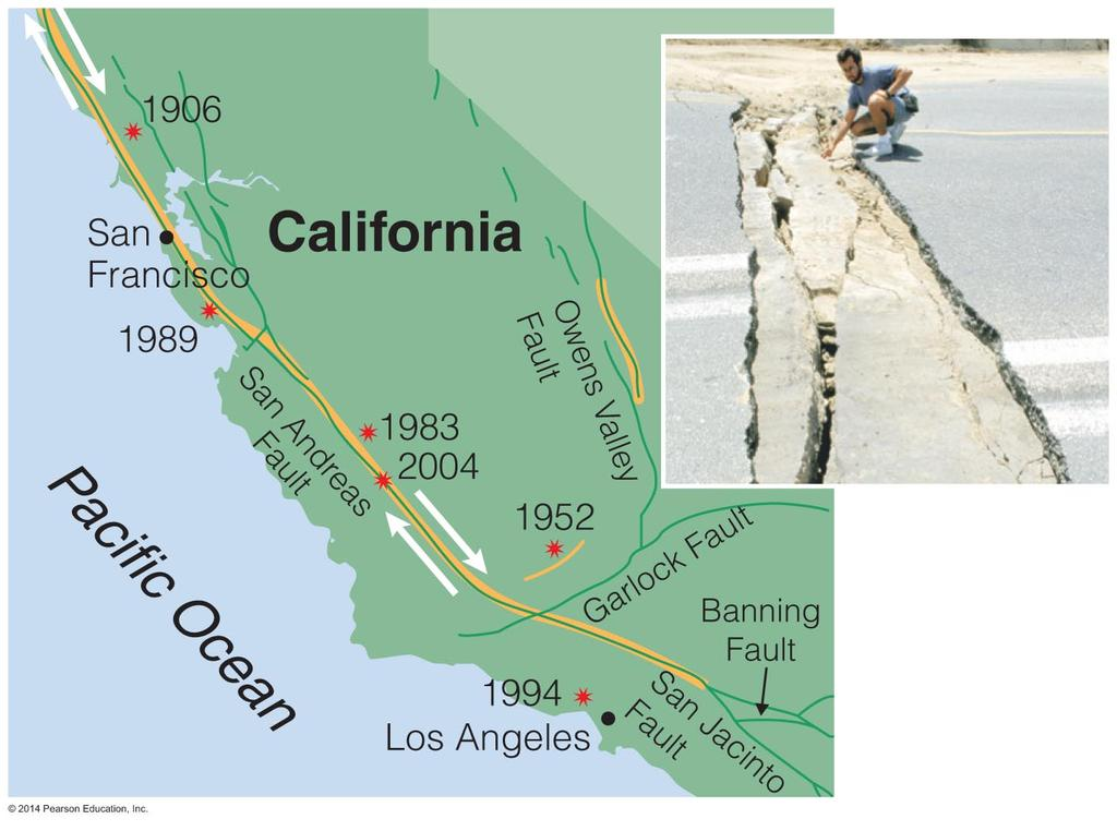 Rifts, Faults, Earthquakes The San Andreas fault in