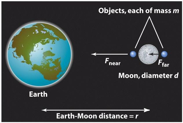 The Moon always faces the Earth because of tidal forces due to Earth Illustration of the origin of the tidal force The tidal