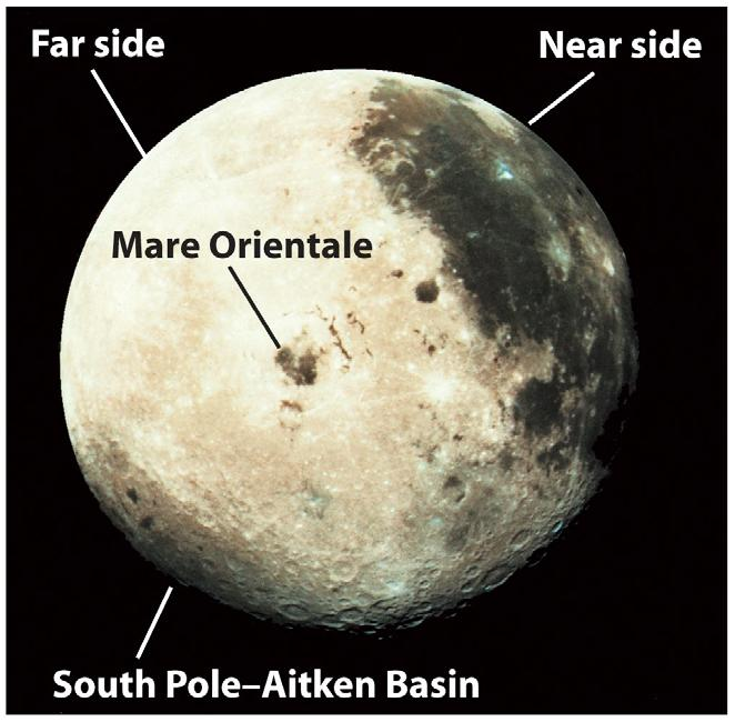 Visible Lunar Features The Earth-facing side of the Moon displays light-colored, heavily cratered highlands