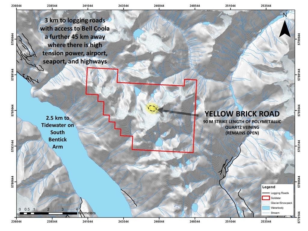 GOLDSTAR PROPERTY Goldstar Property Brand new bedrock discovery, no previous work in area, property remains largely unexplored providing for excellent untapped potential 90-metre-long Yellow Brick