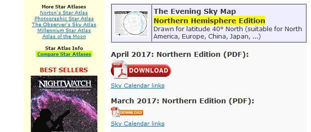Sky Map Lesson (cont.) When log into to the web site where you can download the program 1. Scroll down to locate the Northern Hemisphere Edition 2.