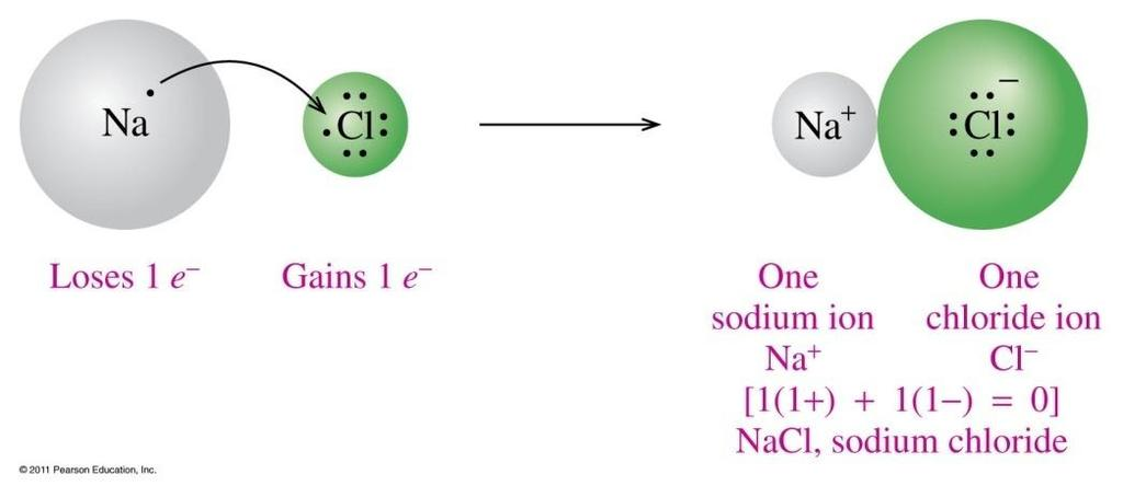 Charge Balance for NaCl, Salt In NaCl, a Na atom loses its valence electron a Cl atom gains an electron the symbol of