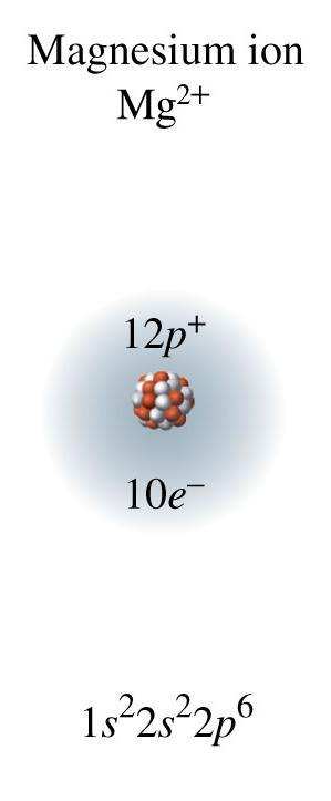 Charge of Magnesium Ion, Mg 2+ With the loss of two valence electrons, magnesium