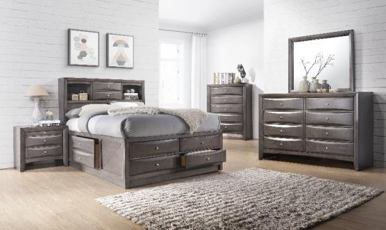 Emily Grey EG100DR Emily Dresser Grey 17 L x 59 W x 41 H HEAVY EG100MR Emily Mirror Grey 2 L x 40 W x 35 H HEAVY EG100CH Emily Chest Grey 5Drawer 17 L x 32 W x 49 H HEAVY EG100TV Emily Media Chest