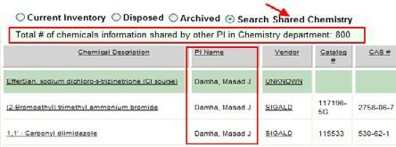 For example: if a Principal Investigator from the Chemistry department wishes to share chemicals from his or her inventory to the whole Chemistry department, place a check mark in the Share column of