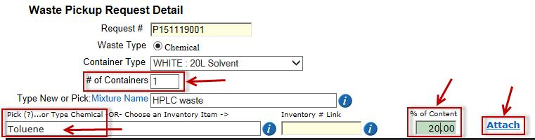 Chemical Waste Module The selected chemical Methanol will appear in the chemical name field and its inventory number will appear in the inventory # Link field.