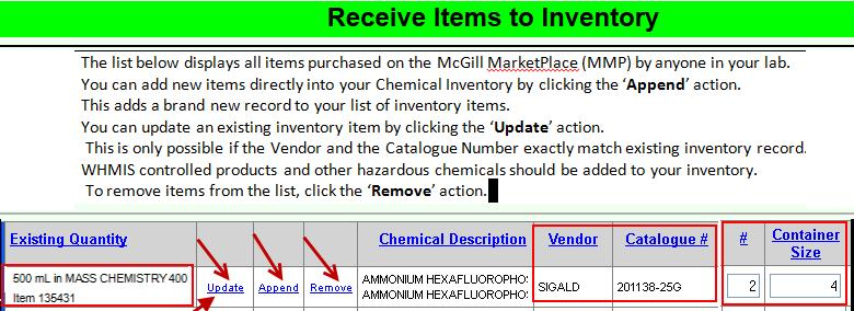 Receiving Items from MMP Order Receiving Items from MMP Order When you receive items that you or anyone in your lab, purchased through MMP, you must add those items to the inventory.