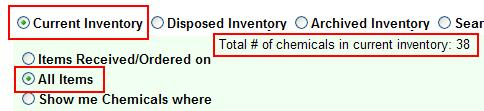 Items Received on To view all items added to the inventory by a specific date, select the option Items Received on and enter the date criteria (e.g.