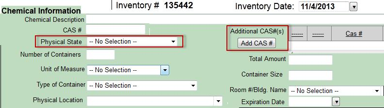 Expiration Date is an optional field. The Inventory Date can be back dated if necessary. Additional CAS #(s) Some chemicals may have more than one Chemical Abstract Service (CAS) number.