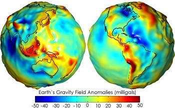 A gravity map of Earth (Cont d) Gravity anomaly maps show how much Earth's actual gravity field differs from gravity field of a uniform, featureless Earth
