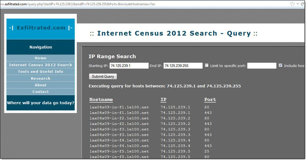 Internet Census 2012 N M A P O F E N T I R E I N T E R N E T ~420k botnet used to perform NMAP against entire IPv4 addr space!
