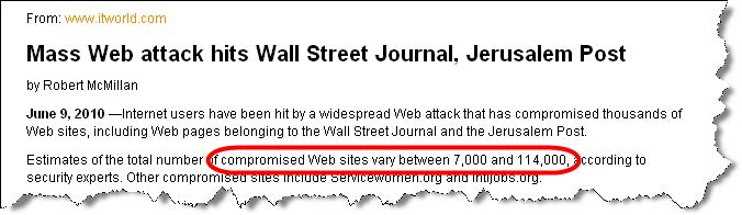 Mass Injection Attacks M A L W A R E G O N E W I L D Malware Distribution Woes WSJ.