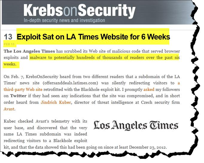 Watering Hole Attacks M A L W A R E G O N E W I L D Malware Distribution Woes LATimes.