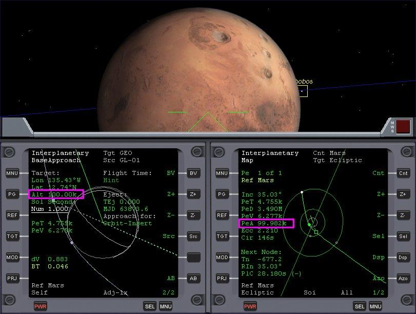 Face towards Mars like before. Zoom out the Map in the right MFD 5 times, until you see your spacecraft s marker (the white dot) and Mars SOI.