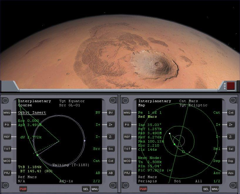 Fig. 12 - Spectacular view of the extinct volcano Olympus Mons, as you approach Mars. Three times the height of Mt. Everest at 27km; it is the largest mountain in the Solar System.