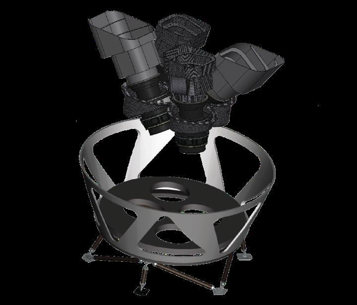 Figure 4. Left. Diagram illustrating the orientations of the four TESS cameras, lens hoods, and mounting platform. Right. Artist s conception of the TESS spacecraft and payload.