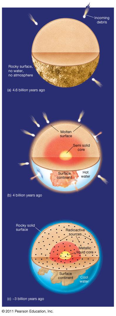 Earth s Interior History: Earth was probably molten when it formed then the upper layers solidified and later remelted