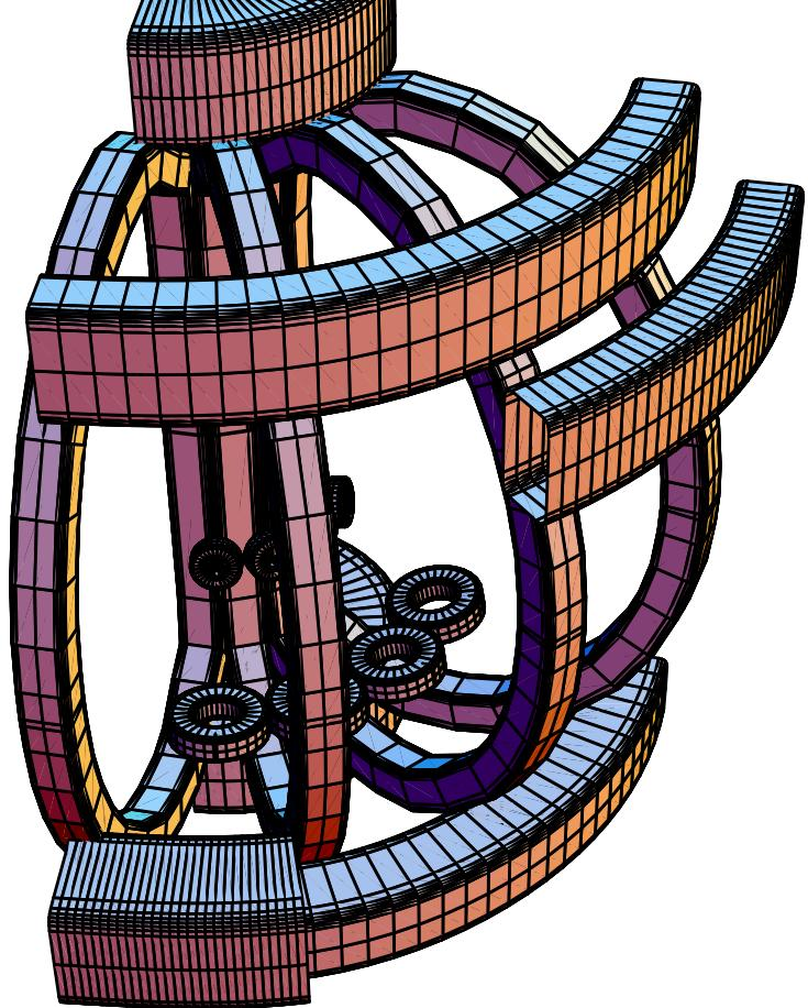 FIG. 11: Top left: Modular X-divertor (XD) coil loops (which can be rectangular).